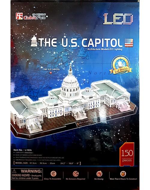 پازل سه بعدی کیوبیک فان مدل کاخ کنگره امریکا دارای چراغ LED