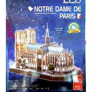 پازل سه بعدی کیوبیک فان مدل کلیسای جامع نوتردام پاریس دارای چراغ LED