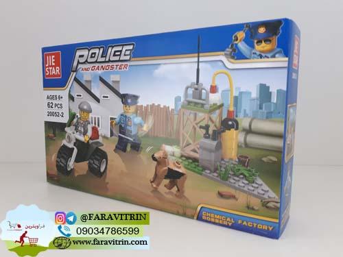 لگو JIE STAR سری POLICE AND GANGSTER مدل سرقت از کارخانه مواد شیمیایی