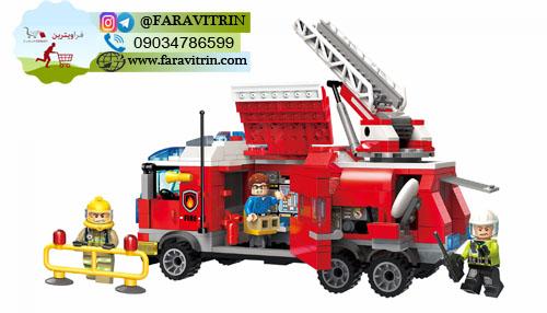 لگو QMAN سری Fire Rescue مدل کامیون فرماندهی آتش نشانی 3